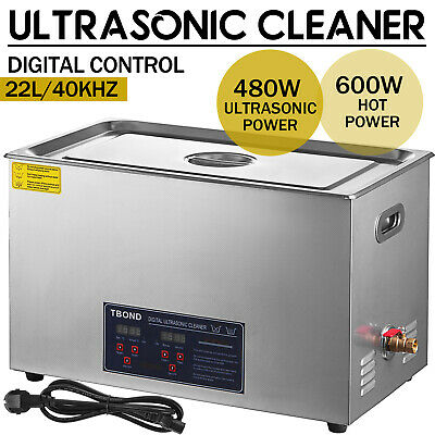Stainless Steel 22L Industry Digital Ultrasonic Cleaner Heated Heater w/Timer
