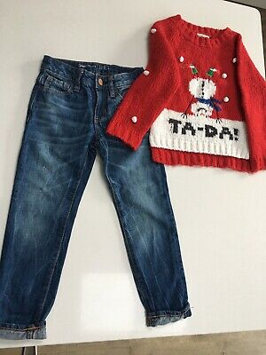 girls Bundle, Next Girls Christmas Jumper & Gap Jeans Age 5