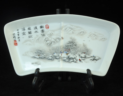 Collection china old famille-rose porcelain hand painted snowscape plate Cb01J