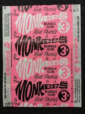 A&BC 1967 Monkees 3D Light Pink Variant Bubble Gum Card Wax Wrapper - Very Good