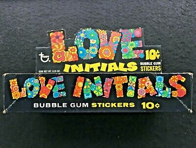 1969 Love Initials Gum 10c Stickers Wax Wrapper Packet Box Topps-Test? Unissued?