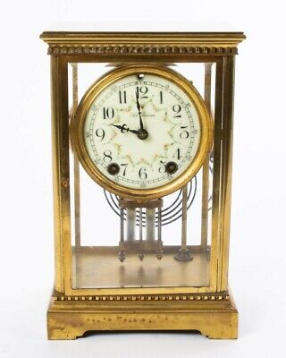 "Antique Seth Thomas Mantle Clock with Brass and Beveled Glass Case 10.25"" Tall"