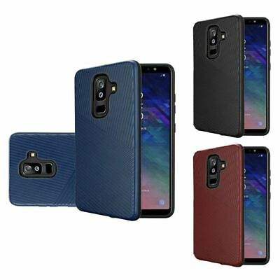 For Samsung Galaxy A6 (2018) Textured Embossed Lines Hard Hybrid TPU Case Cover