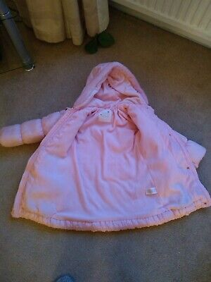 girls matalan pink coat with faux fur and hood age 4/5