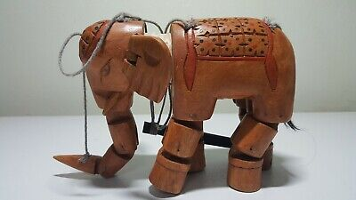 Vintage hand carved and painted string puppet wooden elephant Marionette jointed
