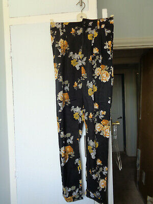 ladies girls size 8 river island trousers, black, grey orange roses