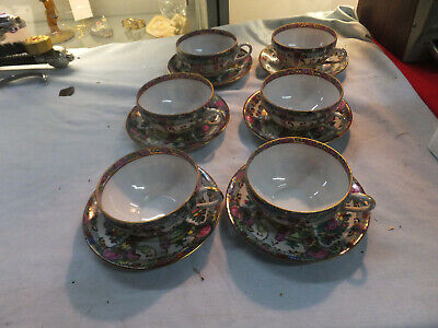 Set of Six  Rose Medallion Cups and Saucers Chinese 19th Century