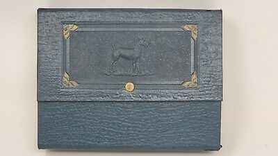 Rare! Vintage Antique Embossed Leather Airedale Terrier Sewing Box