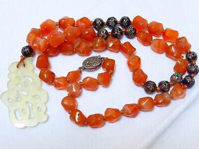 VINTAGE / Antique CHINESE CARNELIAN Sterling Silver BEADS NECKLACE Jade Pendant