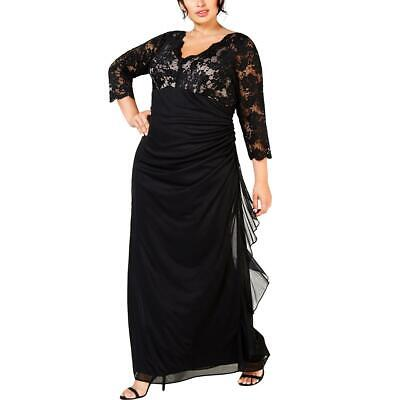 Betsy & Adam Womens Black Lace Party Evening Dress Gown Plus 18W BHFO 0264