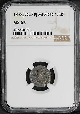 1838/7 GO PJ Mexico Silver 1/2 Real NGC MS-62