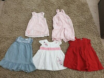 5x Baby Girl Dresses Dungarees 6-9 Months F&F Next M&S Floral Rabbit Pink VGC