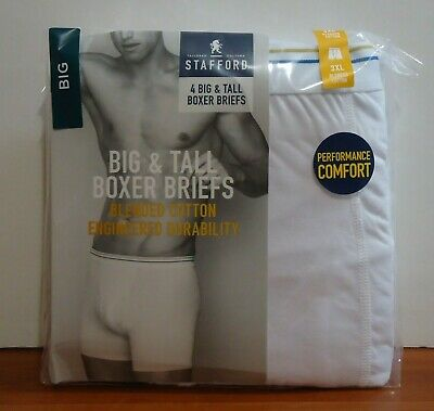 Stafford 4-Pack Big & Tall Blended Cotton White Boxer Briefs - BIG
