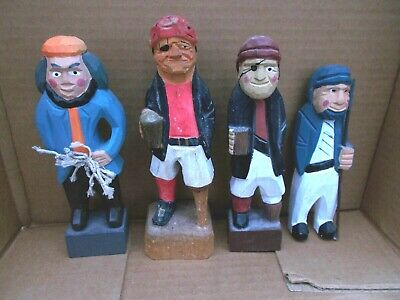 Set of 4 Hand Carved Wooden Sailor Pirate Figures - Nautical Hand Carved!