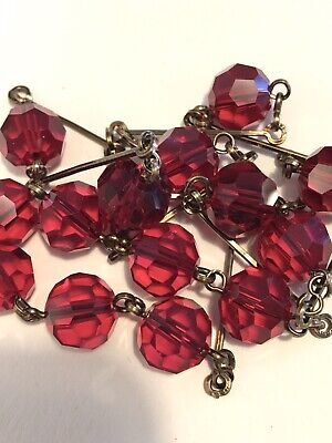 art deco Vintage Style Ruby Red Faceted Glass Crystal bead Paste necklace