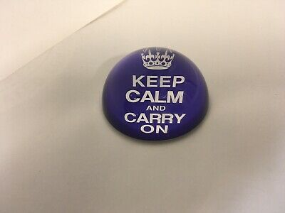 """Keep Calm and Carry On Vintage Style Paperweight  3""""half round  Desk ornament"""