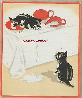RARE CUTE NAUGHTY TABBY KITTEN  SPILLS MILK ON TABLE VINTAGE Art Print 1940's