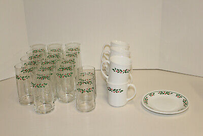 Corelle Pyrex Pyroceram Winter Holly by Corning; Tumblers Glasses Mugs Plates
