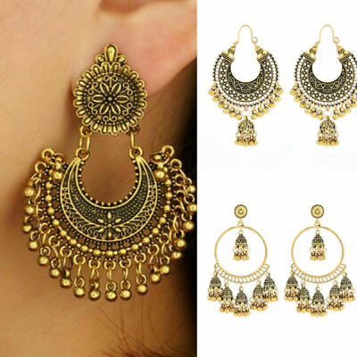 Fashion Women Indian Jhumka Gypsy Jewelry Gold Boho Vintage Ethnic