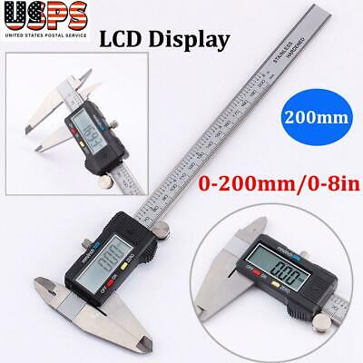 200mm Stainless Steel Electronic Digital Vernier Caliper Micrometer Guage LCD
