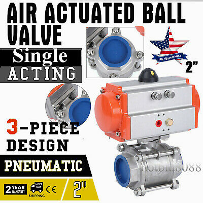 2 inch 3 piece Pneumatic Actuated Stainless Ball Valve Single Acting Air Return