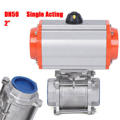 """2"""" Inch Pneumatic Air Actuated Stainless 3 Pieces Ball Valve Single Acting DN50"""
