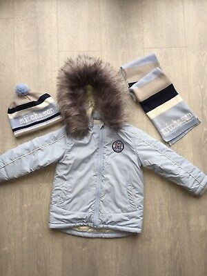 Mitch & Son Boys Coat And Matching Hat & Scarf Set Age 3 Pale Blue