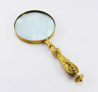 Stunningly Beautiful Old Style Solid Brass Mother Of Pearl Magnifier Handheld