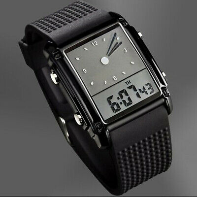 SKMEI Men's Military Digital LED Dual Time Analog Square Sport Quartz Watch Army