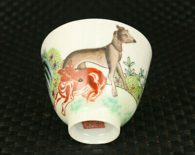 Chinese rare old porcelain Handpainted dog statue tea cup bowl home decoration
