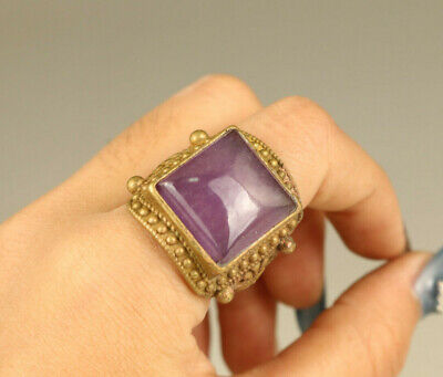 china old brass gilding inlay natural jade hand carving statue ring delicate