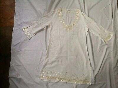 """House Of Fraser Small S 38"""" Off-white Beach Cover Up Tunic Cruise Bnwot sequins"""