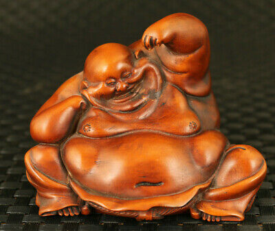 chinese rare old boxwood hand carved Maitreya statue pray bless collectable gift