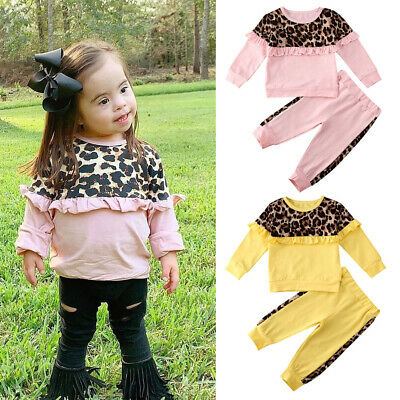 Toddler Kids Baby Girl Clothes Cotton Sweatshirt Tops Pants Tracksuit Outfit Set