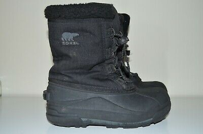 Sorel kids snow boots in black, size EU 33 1/2, UK 1.5, US 2, VGC with logo