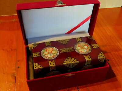 Chinese Ornamental 'Rose' Lacquer/Brass/Mother of Pearl JEWELLERY BOX - New