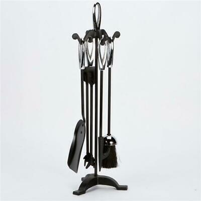 Inglenook 5 Piece Black And Chrome Fireset With Oval Handles FIRE59