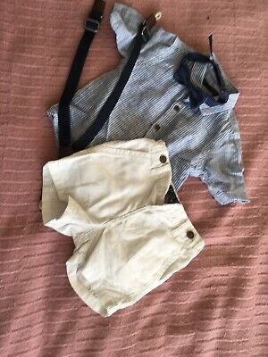 Boys Outfit, Shirt Bow Tie, Shirts And Braces, White & Blue, Suze 6-9 Months