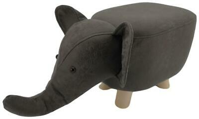 Mini Grey Elephant stool / footstool faux leather / suede with wooden legs