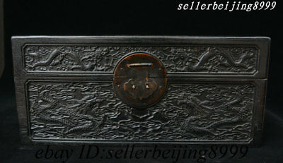 Chinese Rosewood Wood Carved Dragon Emboss Storage Jewelry Box Chest Bin Statue