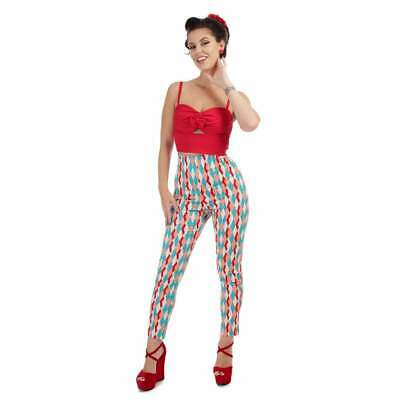 Collectif Mainline Bonnie Atomic Harlequin Trousers