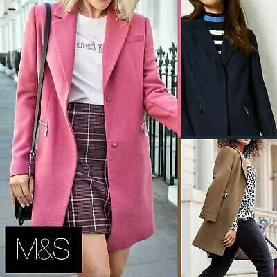 M&S Wool Blend Single Breasted Pink Brown Winter Coat Holly Willoughby Size 6-24