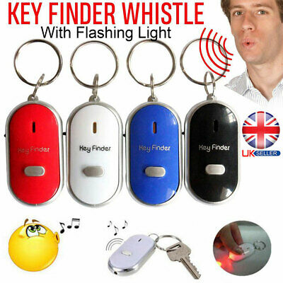 Whistle Lost Key Finder LED Flashing Beeping Locator Remote Chain Sonic Torch UK