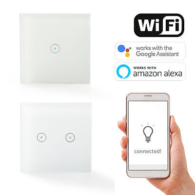 1 Gang Smart WiFi Wall Light Switch Remote Control For Alexa Google Single Dual