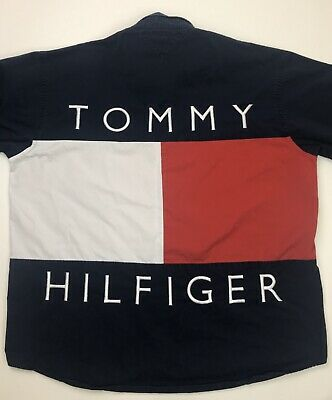 VINTAGE TOMMY HILFIGER Big Flag Spell Out 90s Button Up Long