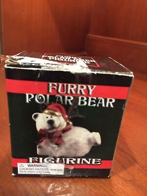 Furry Polar Bear Figurine Christmas Merry Figurine