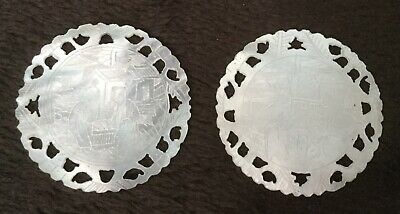 Antique Chinese Mother of Pearl Pair of Game Tokens Figures with pierced border