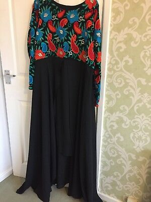 Ladies Bollywood Long Black Embroidered Dress XXL