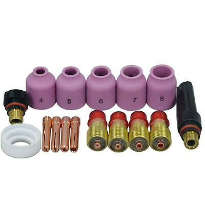 TIG Welding Torches Stubby Gas Lens Collets Alumina Nozzles Back Cap Kit Fo H7T3