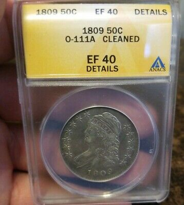 1809 Capped Bust Half Dollar. Anacs Xf40 Details